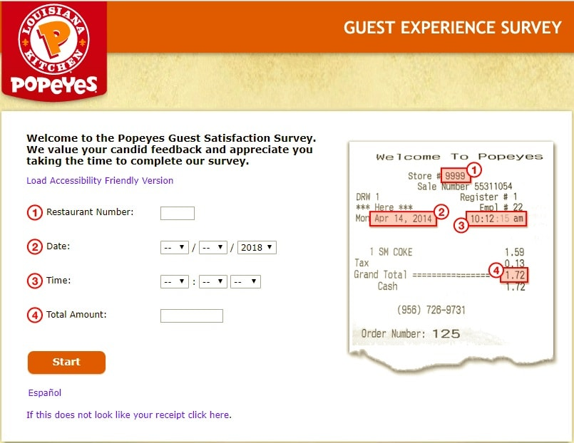 Tell Popeyes customer survey